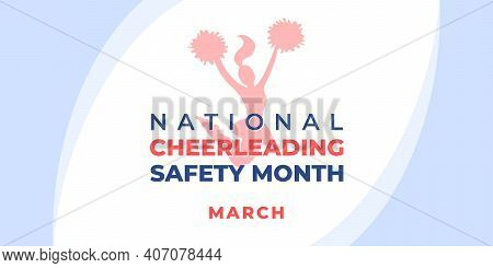 National Cheerleading Safety Month.vector Banner, Poster, Flyer, Greeting Card For Social Media. Sil