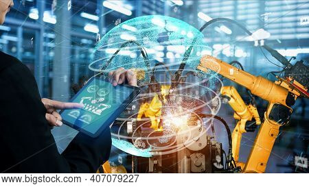 Smart Industry Robot Arms Modernization For Digital Factory Technology . Concept Of Automation Manuf