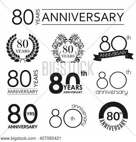 80 Years Anniversary Icon Set. 80th Anniversary Celebration Logo. Design Elements For Birthday, Invi