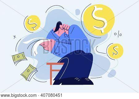 Depression, Crisis, Bankrupt Concept. Businessman Sitting Feeling Depressed With Debts And Lack Of M
