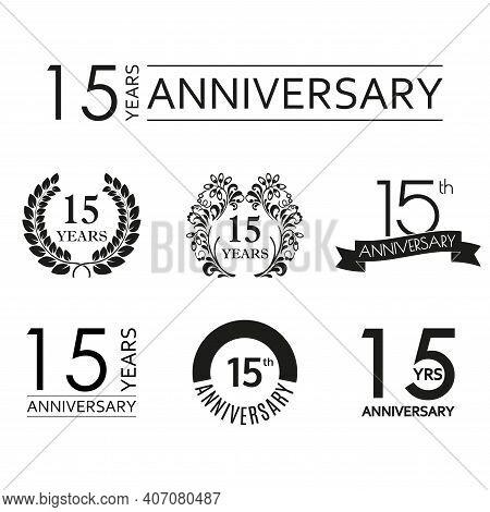 15 Years Anniversary Icon Set. 15th Anniversary Celebration Logo. Design Elements For Birthday, Invi