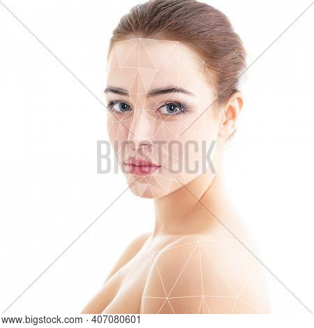 Grid showing facial lifting effect, beauty treatment on skin of beautiful young woman with healthy face. Portrait of beautiful woman with clean skin, youth, cosmetology, treatment, anti-aging concept