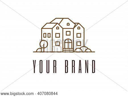 House Development Linear Logo Design. Real Estate Construction Brand Identity Concept. Architecture