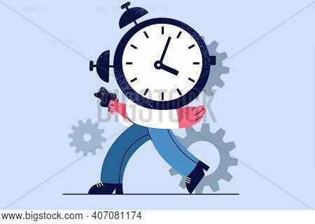 Time Pressure, Overload, Work Burnout Concept. Young Stressed Businessman Carrying Big Heavy Clock O