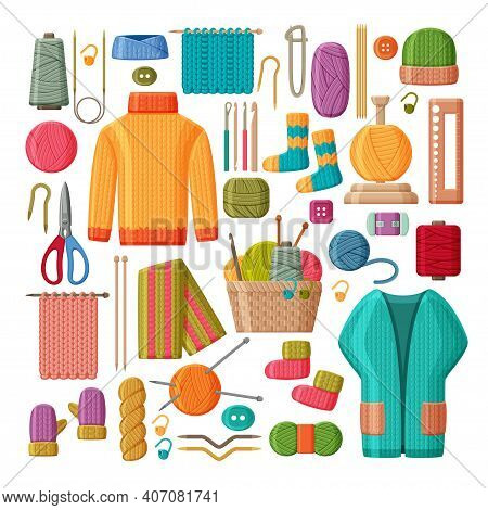 Set Of Woolen Knitted Clothes And Knitting Tools Isolated On White Background. Yarn Buttons, Hook An