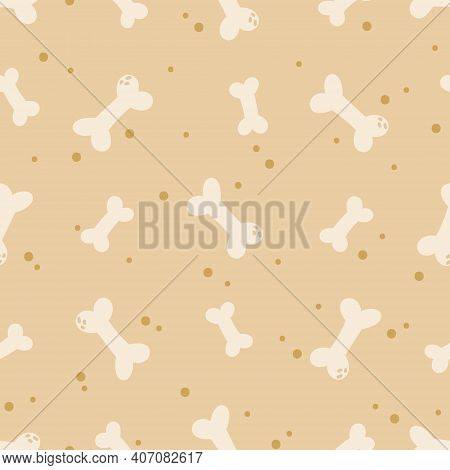 Dog Kids Seamless Pattern, Bones For Puppy Digital Paper, Pet Toy Seamless Background Ideal For Nurs