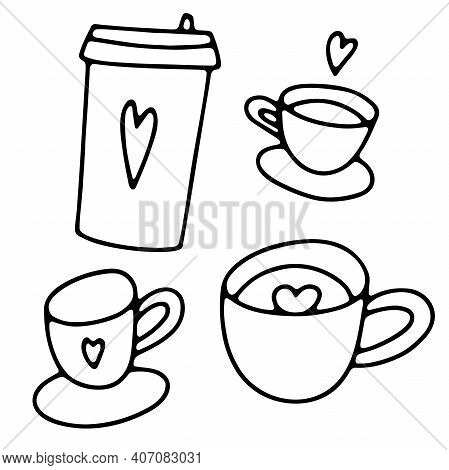 Doodle Coffee Cups Set. Cute Hot Beverage Isolated On White Background. Outline Tea, Latte, Cappucci