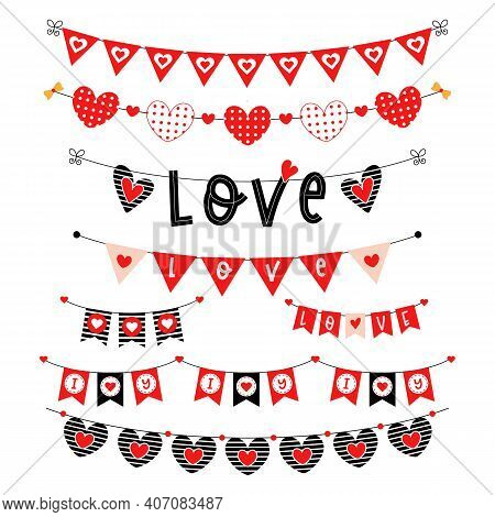 Valentines Day Wedding Red Vector Bunting Set.