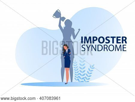 Imposter Syndrome.shadow Woman Standing For Her Present Profile Take Award With Anxiety And Lack Of