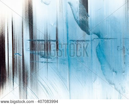 Cold Abstract Background. Frost Texture. Blue White Stained Faded Surface With Dust Scratches Grain