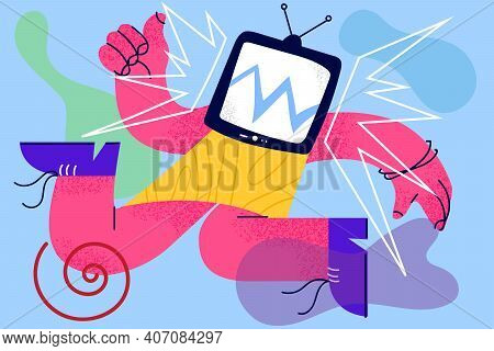 Television Brainwashing, Propaganda, Manipulation Concept. Addicted Human Having Old Television With