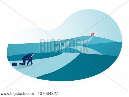 Businessman Starting Way And Ready To New Year 2021 To Goal ,target On Blue Background