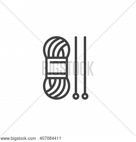 Yarn And Knitting Needles Line Icon. Linear Style Sign For Mobile Concept And Web Design. Knitting T