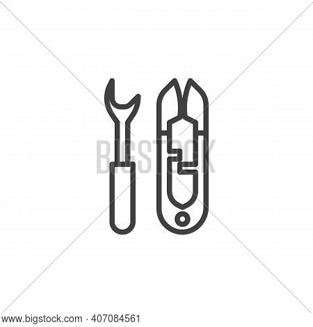 Sewing Scissors Line Icon. Linear Style Sign For Mobile Concept And Web Design. Dressmaking Scissors