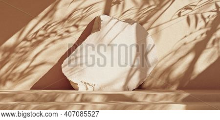 Minimal Mockup Background With Stone Podium Steps For Product Presentation. Beige Wall With Leaf Sha