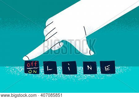 Online And Offline Concept. Human Hand Turning Dice And Changing Words Online And Offline And Concep