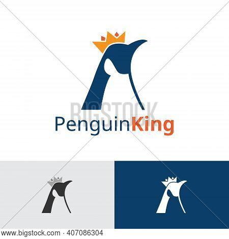 Emperor Penguin King Crown Animal Logo Template