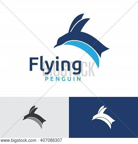 Flying Jumping Penguin Animal Simple Logo Template