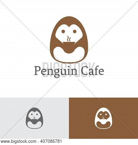 Penguin Cafe Coffee Chocolate Hot Drink Logo Template