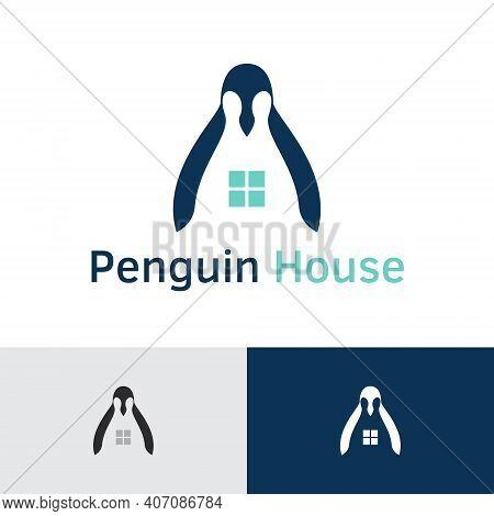 Penguin House Sweet Home Family Logo Template