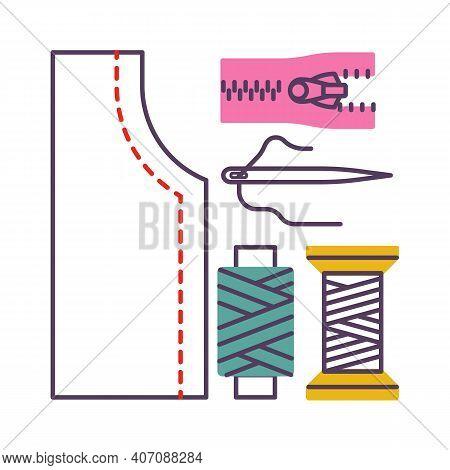 Dressmaking, Sewing Icons, Needlework Vector Illustration Flat Style Design Isolated On White. Color