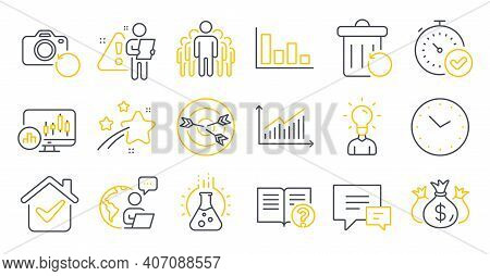 Set Of Education Icons, Such As Education, Comment, Fast Verification Symbols. Time, Help, Histogram
