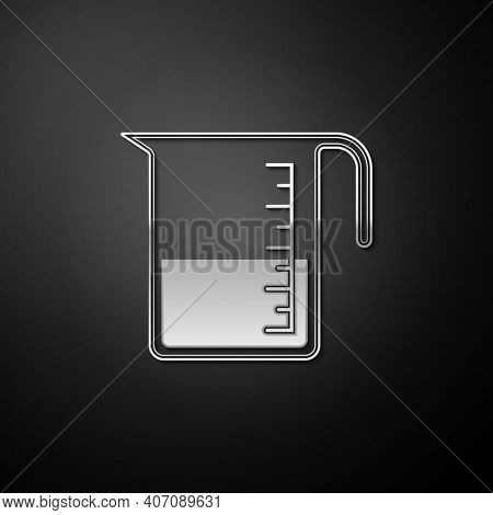 Silver Measuring Cup To Measure Dry And Liquid Food Icon Isolated On Black Background. Plastic Gradu
