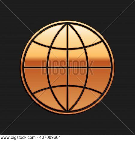 Gold Earth Globe Icon Isolated On Black Background. World Or Earth Sign. Global Internet Symbol. Geo
