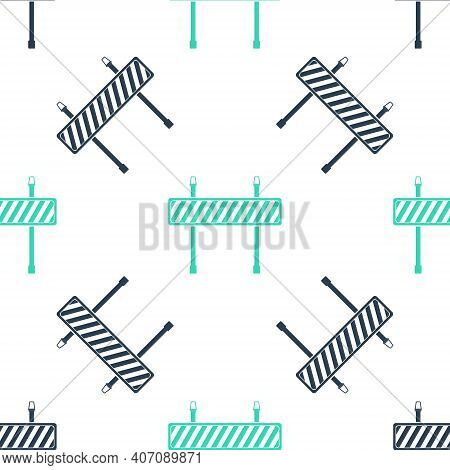 Green Road Barrier Icon Isolated Seamless Pattern On White Background. Fence Of Building Or Repair W