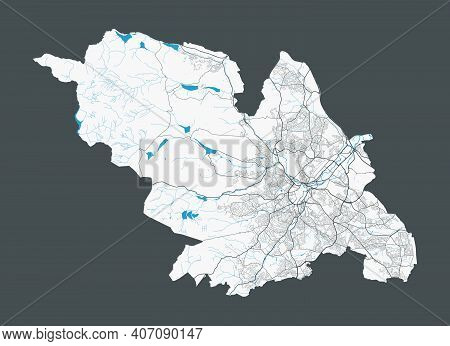 Sheffield Map. Detailed Map Of Sheffield City Administrative Area. Cityscape Panorama. Royalty Free