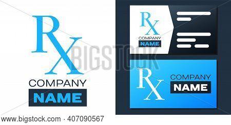 Logotype Medicine Symbol Rx Prescription Icon Isolated On White Background. Logo Design Template Ele