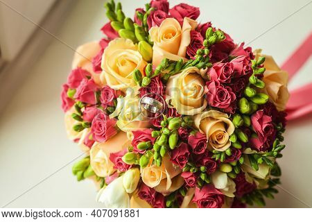 Beautiful Bridal Bouquet Including Yellow Roses And Pink And Green Florets Tied With Silk Ribbon Lyi