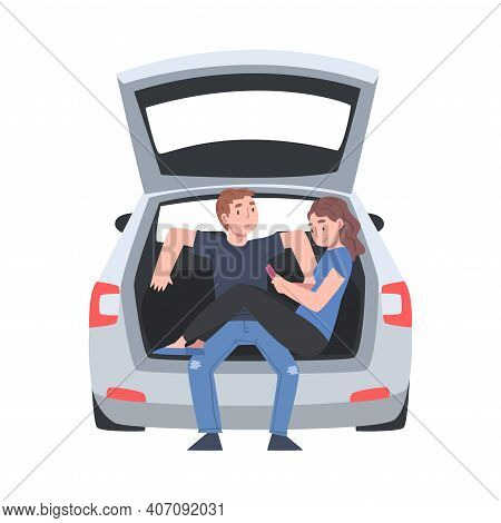 Couple Sitting In Open Car Trunk Taking Picture Vector Illustration