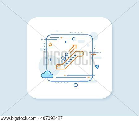 Escalator Line Icon. Abstract Square Vector Button. Elevator Sign. Shopping Stairway Symbol. Escalat