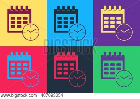 Pop Art Calendar And Clock Icon Isolated On Color Background. Schedule, Appointment, Organizer, Time