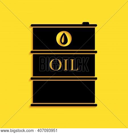 Black Oil Barrel Icon Isolated On Yellow Background. Oil Drum Container. For Infographics, Fuel, Ind