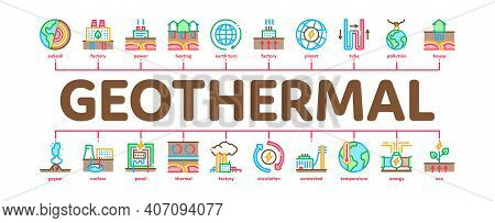 Geothermal Energy Minimal Infographic Web Banner Vector. Geothermal Electricity Factory And House He