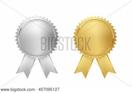 Golden And Silver Stamps With Ribbons Isolated On White Background. Luxury Chrome Seals. Vector Desi