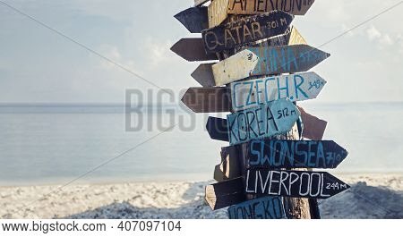 Time To Travel. Traveling Background. Signs With Country Distances And Directions. Distance Markers.