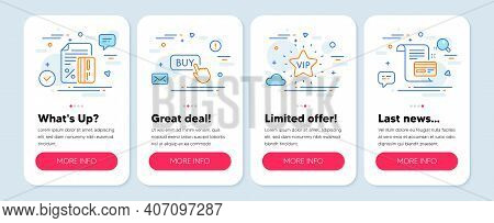 Set Of Finance Icons, Such As Vip Star, Credit Card, Buy Button Symbols. Mobile Screen App Banners.