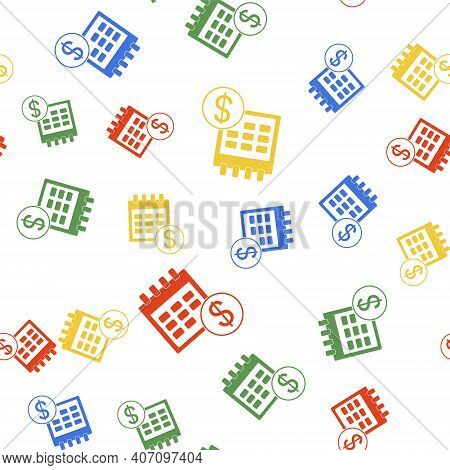 Color Financial Calendar Icon Isolated Seamless Pattern On White Background. Annual Payment Day, Mon