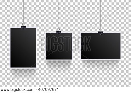 Blank Photoframes Hanging With Pins On Cords Set. Realistic Retro Art Collection Vector Illustration