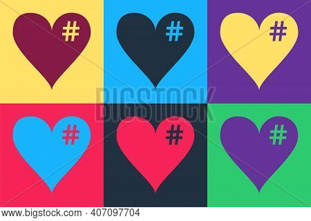 Pop Art The Hash Love Icon. Hashtag Heart Symbol Icon Isolated On Color Background. Vector