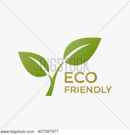 Eco Friendly Icon. Ecology And Environment Symbol. Plant Sprout With Leaves. Vector Image