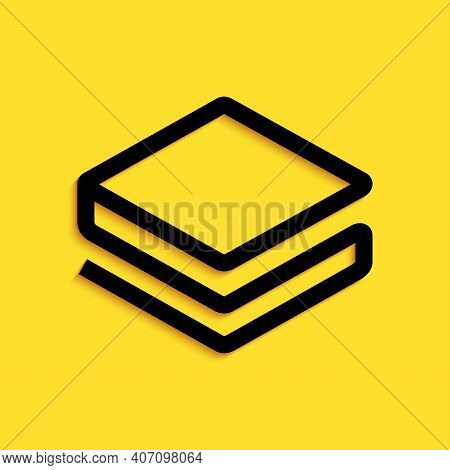 Black Cryptocurrency Coin Stratis Strat Icon Isolated On Yellow Background. Physical Bit Coin. Digit