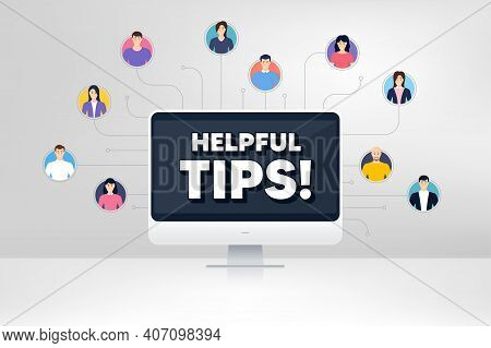 Helpful Tips Symbol. Remote Team Work Conference. Education Faq Sign. Help Assistance. Online Remote