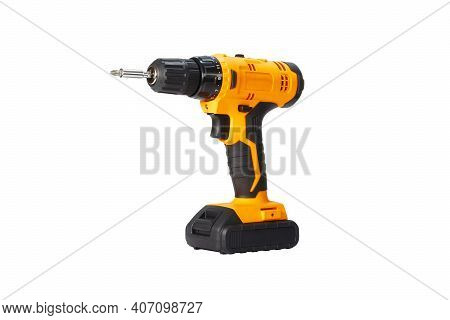 Black And Orange Screwdriver On A White Background, Close Up, Isolated. Household Tools.