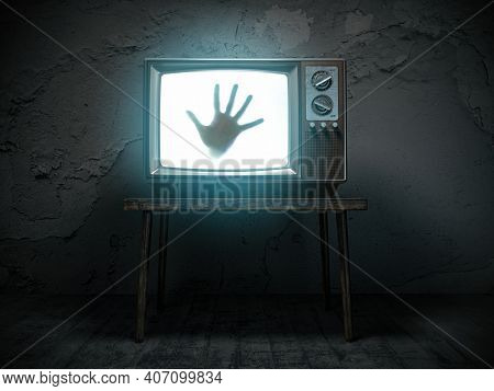 Horror scary movie concept. Hand of ghost on screen of vintage tv in haunted house. 3d illustration
