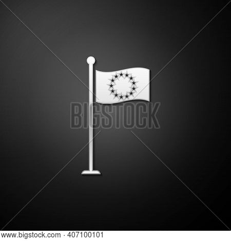 Silver Flag Of European Union Icon Isolated On Black Background. Eu Circle Symbol. Waving Eu Flag On