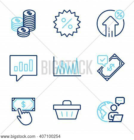 Finance Icons Set. Included Icon As Shopping Basket, Line Graph, Accepted Payment Signs. Discount, L